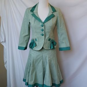 Nanette Lepore Green Striped Blazer and Skirt